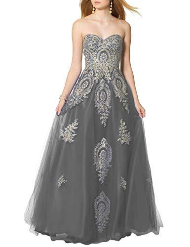 SongSurpriseMall Ballkleider Brautkleider Damen Lang Hochzeitskleider Abendkleid Quinceanera Kleider Tüll Spitze 2019 Grau EU52