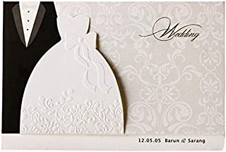 Hollow Laser Cut Invitations Card for Wedding Bridal Showers Engagement Party, 12 Pack