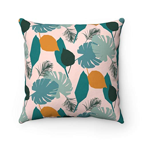 Lplpol Canvas Throw Pillow Cover Dusty Blue Teal Monstera Leaves Tropical Floral Abstract Art Decorative Pillowcase Square Pillow Cover Farmhouse Decor 16 Inch Christmas Festival Decorations