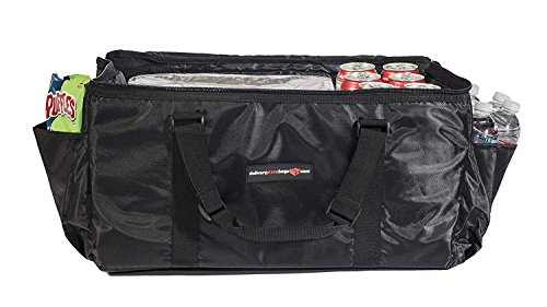"Insulated Food Delivery Bag - Premium Large Catering Bag for Transport - 22"" x 14"" x 11"" - Extra Strong Zipper with Thick Insulation Carrier - Large Black"