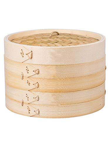 12 Zoll Bambusdampfer 2 Tier Korb & Deckel Bambus Dim Sum Dampfkorb mit Dampfgarer Liner Perfekt zum Dämpfen von Knödeln, Gemüse, Fleisch, Fisch, Reis, Gesunder Lebensstil (Farbe: