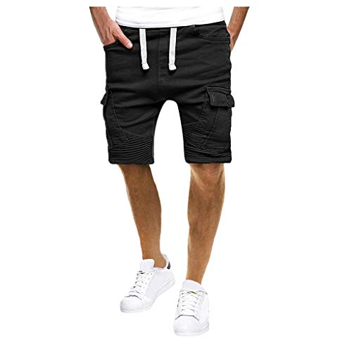 Shorts Herren Beiläufig Pure Farbe Bandage Tunnelzug Lose Kurze Hose Jogginghose