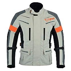 Jet Motorradjacke Herren Mit Protektoren Textil Wasserdicht Winddicht Silber Grau (L (EU 50-52))