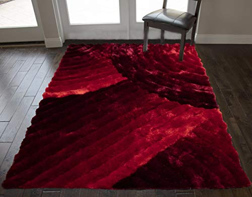 8'x10' Feet Multi Red Colors Area Rug Carpet Rug 3D Carved Shag Shaggy Furry Large Decorative Designer Patterned Modern Contemporary Fuzzy Furry Bedroom Living Room Fuzzy Fluffy