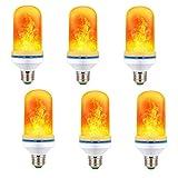 6 Pack LED Fire Flame Flicker Effect Light Bulb, 7W 1800K Warm White 4 Modes Emulation, Constant Light, Breathing, Gravity Sensor Fire Flickering E26 Bulbs, Decorative Light for Home Bar Wedding Party
