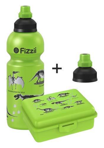 Fizzii Set Trinkflasche 600ml + Lunchbox inkl. Obst-/ Gemüsefach (schadstofffrei, spülmaschinenfest, Motiv: Dino)