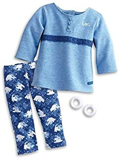American Girl My AG Polar Bear PJS Pajamas for Dolls + Charm