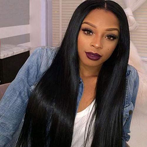 LQ&XL 24inch perruque femme naturelle postiche cheveux Noire Longue Ligne Droite Human Hair Lace Front Wigs Pre-Plucked Natural Hairline with Baby Hair 130% Density pour Cosplay A/A