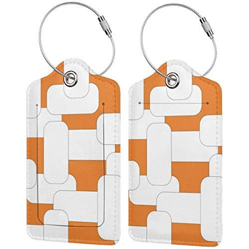 Etiquetas de equipaje de color blanco y naranja vinculadas para maletas, portabicicletas...