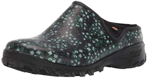 BOGS Women's Sauvie Clog Waterproof Rain Shoe, Ditsy Print Black Multi, 8 M