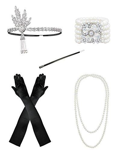 1920s Flapper Accessories Leaf Headband Pearl Necklace Black Gloves Bracelet