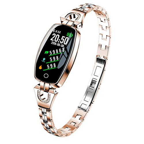 CCFCF Waterproof Fitness Tracker, with Heart Rate Blood Pressure Monitor,All-Day Activity Tracker Pedometer Watch, Smart Band Health Tracker for Man Woman Best Gift,Gold