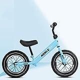 DFSSD Bicicletas de Equilibrio, de Peso Ligero de la Bicicleta, sin Pedal de Ruta de Formación de Bicicletas, con absorción de Impactos Ruedas de Goma Inflable, PU Esponja de una Silla,Azul,B