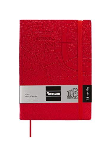 Finocam - Agenda 18 Meses 2020-2021, Y4-120x170 1 Día Página Mara Travel Rojo, Multilingüe