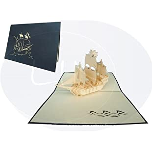 LIN Pop Up 3D Greeting Card for Fans of Historic Sailing Ships, Sailing Ship (Galleon), large card (6 x 7.8 inches), handmade, (#113)