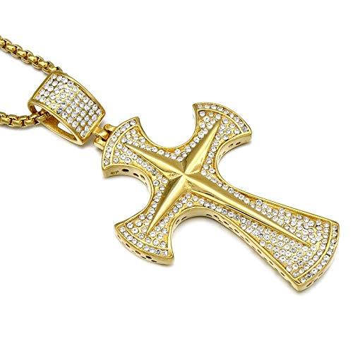 Ice Out Micro Pave Voll Strass Gold Farbe Edelstahl Axt Christian Cross Anhänger \U0026 Halsketten Für Männer Schmuck Kettenlänge 60 Cm