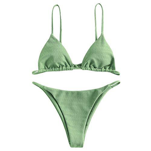ZAFUL Damen Zweiteiliger Bikini Set, Textured Dreieck Cup Tanga Bikini mit Spaghettiträger, Sexy String Badeanzug (Grün, S)