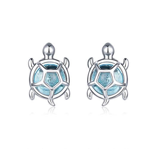 GDDX Pendientes de botón de tortuga marina de plata esterlina Cristal azul Pendientes de animales lindos Joyería para mujeres niñas (Tortugas de mar)