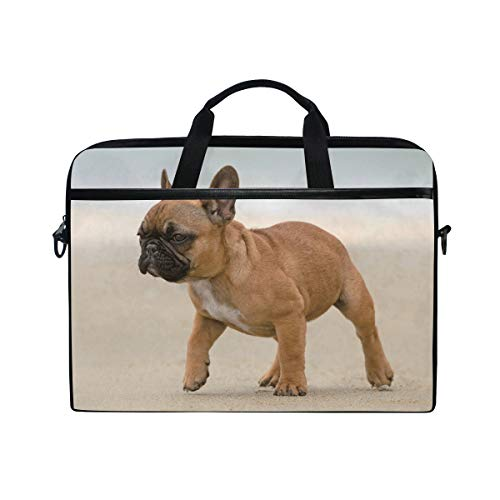 Frenchie Bulldog 15 inch Laptop Case Shoulder Bag Crossbody Briefcase Messenger Sleeve for Women Men