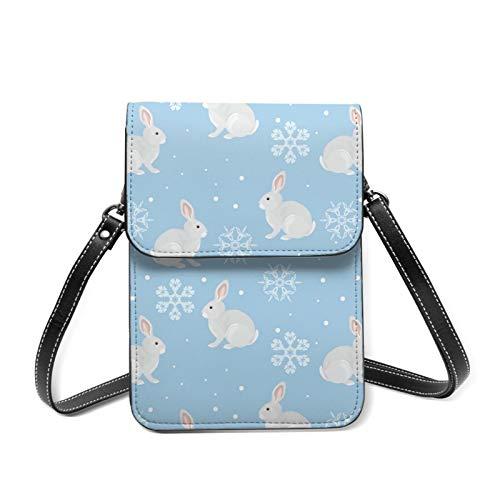 Conejo y hermosos copos de nieve para mujer de cuero genuino Mini Sling Organizador bolsa