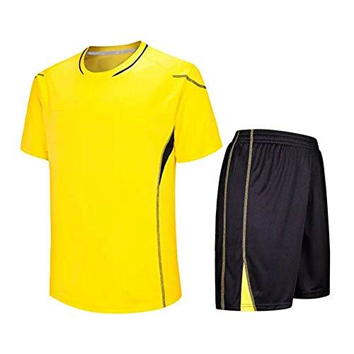 Meijunter Kind Erwachsene Fußball T-Shirt & Shorts Set - Team Training Wettbewerb Sportbekleidung Im Freien Kostüm Soccer Jerseys Uniforms, Gelb, Tag 160-165CM = UK/EU/US/AUS 140-145CM