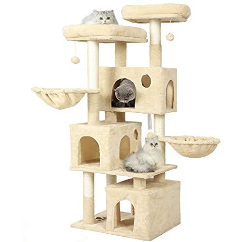 MSmask Tiragraffi per gatti di grandi dimensioni, con 2 piattaforme e 3 cucce per gatti, stabile albero da arrampicata (156 cm)