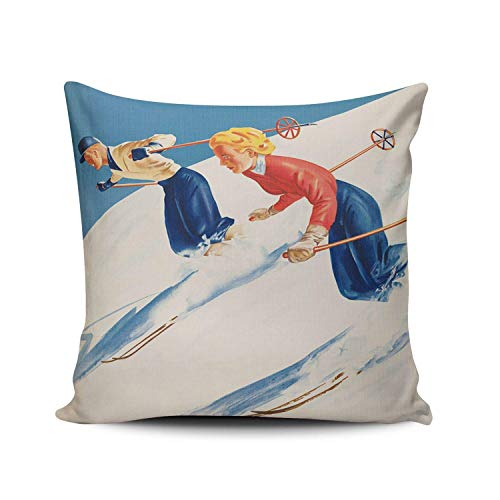 975 Throw Pillow Cover Retro Vintage Boy Girl Ski Winter Snow Pillow Case Indoor Throw Pillow Case Personalised Pillow Cover For Chair Bedroom Bench 45X45Cm