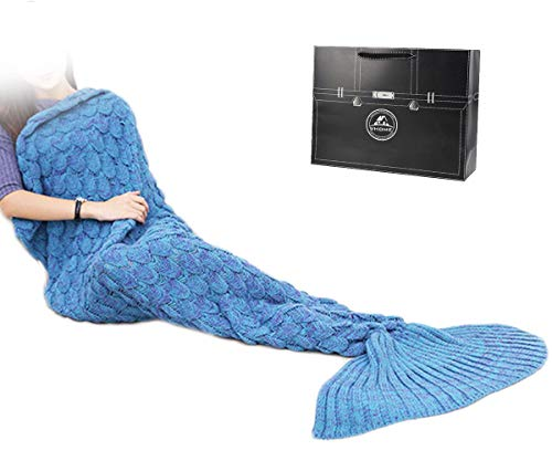 Sirena Coda Coperta per Adulti Fatti a Mano a Maglia Caldo Salotto Divano Genera Coperta per Regalo di Natale e Compleanno (V7-Blu, Adulto 180cm x 90cm)