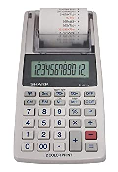 Sharp EL-1611V Handheld Portable Cordless 12 Digit Large LCD Display Two-Color Printing Calculator with Tax Functions 191 x 99 x 42 mm