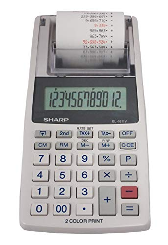 Sharp EL-1611V Handheld Portable Cordless 12 Digit Large LCD Display Two-Color Printing Calculator with Tax Functions