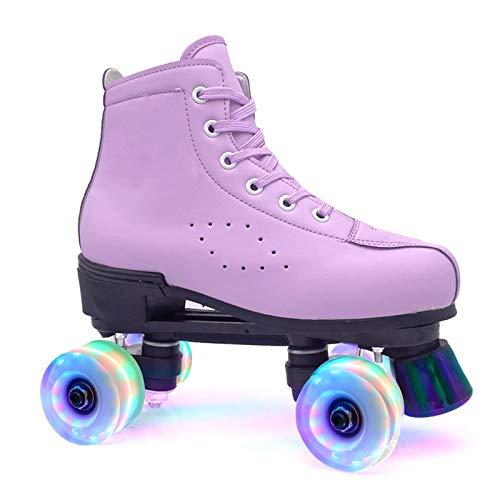 Rollschuhe Disco Roller Kinder Mädchen Mit Glitzer Double Row Skates Erwachsene Rollschuhe Roller Figure Quad Skates (Purple, 35)
