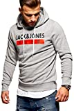 JACK & JONES Herren Hoodie Kapuzenpullover Sweatshirt Pullover Print Streetwear (Medium, Light Grey...
