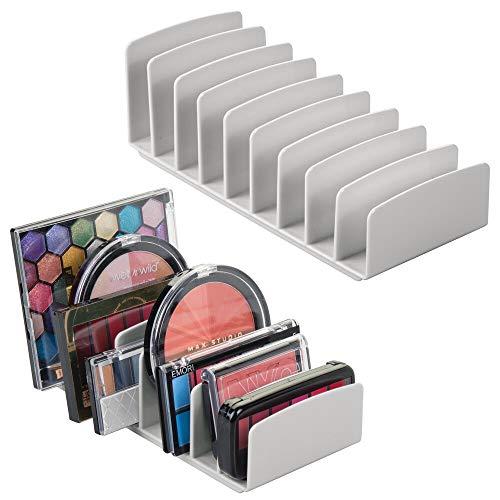 mDesign Set da 2 Porta Trucchi da Bagno in plastica – Organizer per Cosmetici con 9 pratici Scomparti – Moderno Contenitore per Make-up per Bagno o Camera da Letto – Grigio Chiaro
