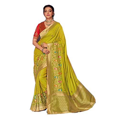 Hellgrüne Sari-Bluse, reine Seide, indisches Bollywood, klassisch, mehrere Fäden, südindische Frau, Festival, Sari-Bluse, 5207