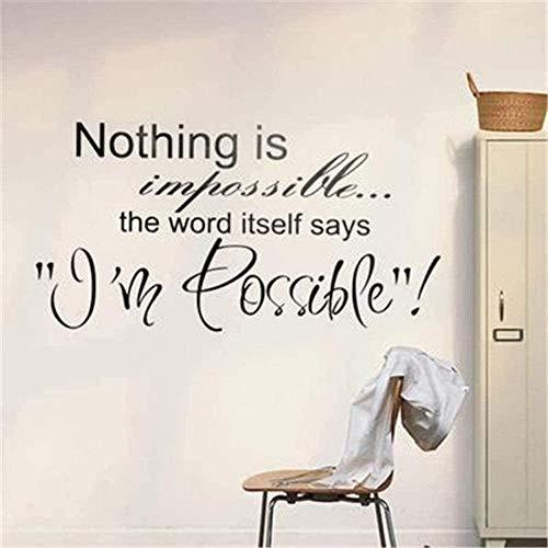 Pegatinas de pared DIY Pegatinas de personalidad creativa Nada es imposible Arte...