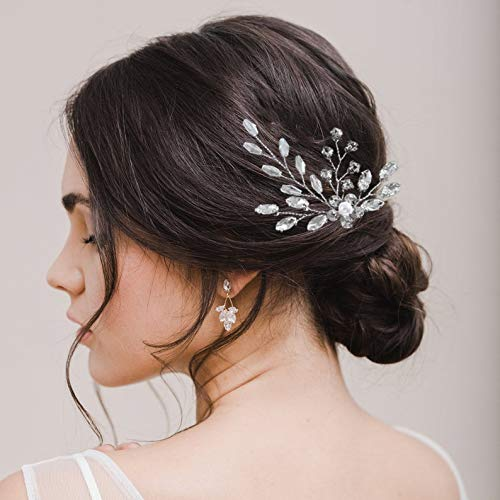 Vakkery - Horquillas para el pelo con cristales de imitación plateados, para...