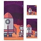 Robot Cohete Espacio Púrpura Juego de Toallas para Baño Playa 100% Algodón de Piscina Toalla (1 Toalla de Baño y 1 Toalla de Mano y 1 Paño de Lavado) para Nadar Hotel Niñas Niños Niños