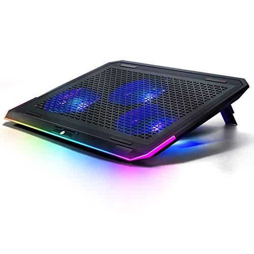 haozai Base De Refrigeración para Portátil,iluminación Táctil RGB,Ajuste De Doble Ángulo,la Velocidad del Viento Se Puede Ajustar Libremente,diseño De Interfaz USB Doble,Enfriador De Notebook