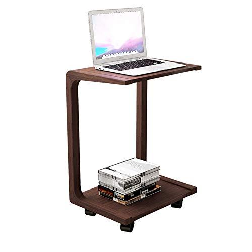 HERVI Haushalt Bambusholz Einfacher Computertisch, Untere Riemenscheibe Kann Bewegt Werden, Geeignet Für Schlafzimmer- Und Wohnzimmer