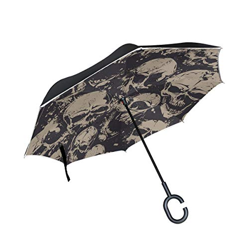 ALAZA Grunge Skull Halloween Day Of The Dead Windproof Inverted Open Close Reverse Rain Umbrella Inside Out Quality Waterproof Parasol Upside Down Stick Shelter with Hook c