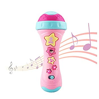 Kids Microphone with Long-Recoding & Voice Change Function Music Karaoke Toys with Singing Along for Boys and Girls Baby Music Toys for Toddlers  Pink