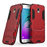 COOVY® Funda para Samsung Galaxy J5 SM-J530 / SM-J530F/DS (Model 2017) / J5 Pro de plástico y Silicona TPU, extrafuerte, con protección contra Golpes, Funda con función Atril | Rojo