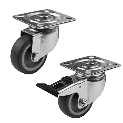 4 Stück Möbelrollen Transportrollen, Rollen mit Bremse 50mm   Lenkrollen drehbar   Möbelräder Schwerlast-Transportrollen mit Bremse & 160 kg Gesamttragkraft   ideal für Büro-Möbel & Industrial