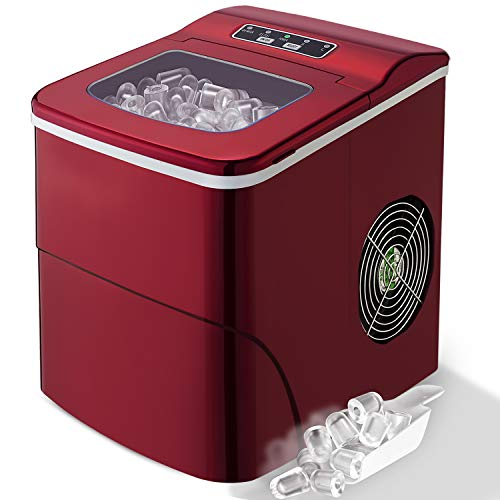 Countertop Ice Maker Portable Ice Making Machine with Timer -Bullet Ice Cubes Ready in 6 Mins -...