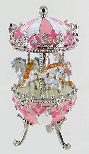 Boîte à musique en forme d'oeuf musical de style Fabergé en métal avec chevaux de carrousel (Réf: 15027) - La valse de Brahms