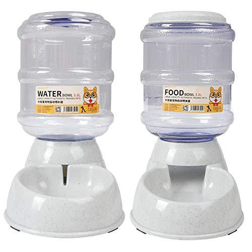Cxssxling Automatischer Futter und Wasserspender für Katzen und Hunde, Futterautomat und Wasserspender im Set, Lebensmittelecht Hund Schüssel Wassertränke jeweils 3.8 L