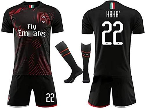 Kinder Herren Fußballuniform 2019-2020 Nr. 9 Higuain Nr. 22 Kaka Nr. 21 Ibrahimović Zweitauswärtstrikot, T-Shirt Trikot + Shorts + Socken, anpassbarer Trainingsanzug-No.22-adultM