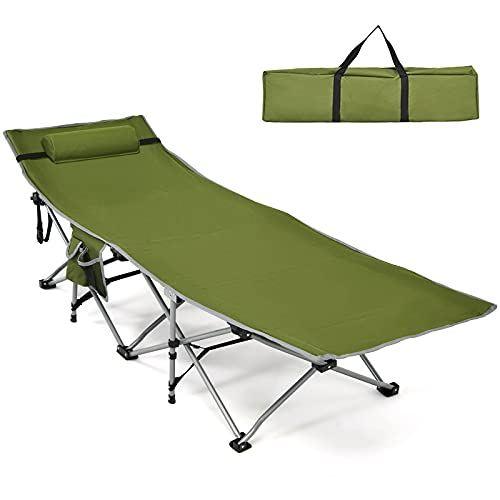 Goplus Folding Camping Cot, Heavy-Duty Comfortable Cot Bed for Adults Kids w Side Storage Pocket, Carrying Bag, Detachable Headrest, Outdoor Portable Sleeping Cot for Camp Backpacking Traveling