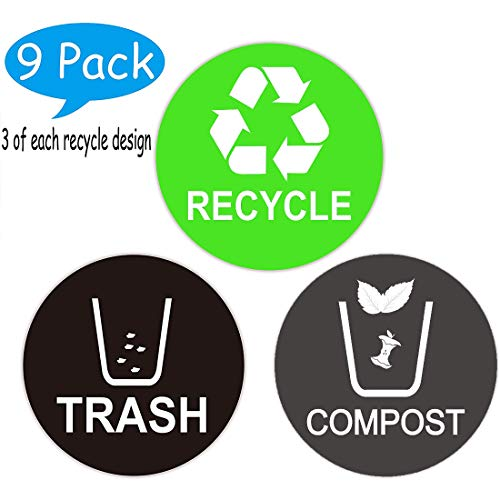9 Pack Recycle, Trash & Compost Logo Stickers - Organize & Coordinate Garbage Waste from Recycling - for Metal or Plastic Garbage cans, Containers and Bins - Indoor & Outdoor - Home, Kitchen & Office
