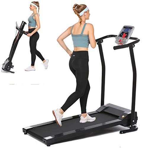 Aceshin Folding Treadmill Electric Running Machine Auto Stop Safety Function Treadmill with LCD Monitor Running Walking Jogging Exercise Fitness Machine for Home Gym (Black)